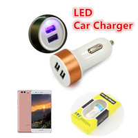 Wholesale Car Charger Usb Box - LED Dual USB Car Charger Universal 2.1A Aluminum Alloy Fast Charging Car Adapter For SamsungS8 S8plus ipod Tablet PC With Retail Box