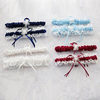 Wholesale Blue Wedding Garter Belt - 2017 Bridal Garters 2pcs set 7 Colors Sexy Pink Blue Flower Ribbon Wedding Garter Set Pearl Bridal Leg Garter Belt Lace Bride Accessories