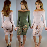 Wholesale Sexy Tight Dress Women Pink - 2017 Autumn Long Sleeve Slash Neck Off The Shoulder Dress Club Tight Party Sexy Bodycon Hollow Out Autumn Wrap Dress
