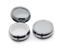 Wholesale Organizer Diy - NEW DESIGE Pill boxes DIY Silver One Compartment Portable Engravable Chrome Purse Jewellery Organizer Container #PY01S FREE SHIPPING