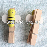 Wholesale Wooden Clothespins Wholesale - 48 x Handmade 48mm Wooden Craft Peg with Honey Bees | Wood Clothespins for Wedding Party Decoration