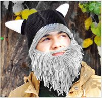 Wholesale Beanie Hat Pirate - Winter Handmade Crochet Whiskers Pirate Hats Ox horn hat Novelty Big Beard Beanies Tassles Hat for Daily Festivals Party Stage Props