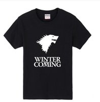 Wholesale Game Thrones T Shirts - Hip Hop Men Tee Shirt Printed Game of Thrones Winter Is Coming T Shirts Casual Mens Tops Wholesale Men T shirt by DHL