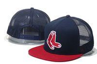 Wholesale Hot Sox Sale - HOT Sale Men's Boston Red Sox Mesh Snapback Hats Navy Blue Red Color Fashion Hip Hop Summer Sports Adjustable Baseball Trucker Caps