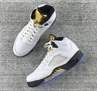 Wholesale Cheap Tongue - High Quality 2016 Olympic Retro 5 OG Metallic Gold 5s Gold Tongue White Black GS Basketball Shoes Men Women Cheap Sneakers For Sale