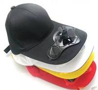 Wholesale New Solar Fans Caps - 2016 new Solar electric fan baseball cap tourism outdoor hat in the summer Sun hat summer fishing cap cap