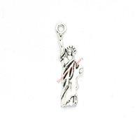 statue freiheit halskette großhandel-20 stücke Antikes Silber Überzogene Freiheitsstatue Charms Anhänger für Armband Schmuck Machen DIY Halskette Handwerk 35X10mm
