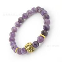 ingrosso gioielli in oro ametista-8mm Top Quality Natural Amethyst Stone Beads Real-oro placcato Lion Head Energy Bracciali Mens gioielli regalo degli uomini