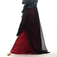 traje cosplay saia vermelho venda por atacado-1 pc Punk Lady Organza Preto Vermelho Plissado Saia Gótico Vitoriano Steampunk Do Vintage Traje Cosplay de Alta Qualidade