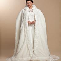 Wholesale Long Cape Bridal Party - 2017 Elegant Hood Winter Warm Bridal Cape Wedding Cloak Faux Fur Plus Size Wedding Wraps long Party Evening Satin Bridal Wraps