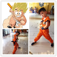 Wholesale dragon ball z goku costume - 2016 Halloween Costumes Dragon Ball Z DBZ Son Goku Cosplay Costume Clothes Cosplay for Children Top Pant Belt Tail Wrist CS002