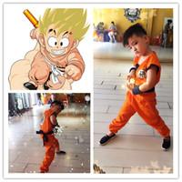 косплей оптовых-2016 Хэллоуин костюмы Dragon Ball Z DBZ Son Goku косплей костюм одежда косплей для детей топ/брюки/пояс/хвост/запястья CS002
