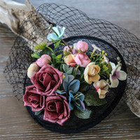 Wholesale Black Veil Hair Clip - Wedding Bridal Black Pillbox Hat Cap Silk Flower Headpieces Veil New Church Derby Fascinators Hair Accessories Clips Women Prom Hair Jewelry