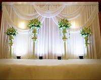 decoración de la fiesta de matrimonio al por mayor-3 * 6 m Fondo de celebración del escenario del banquete de boda Cortina de satén Drapeado Pilar Telón de fondo Decoración de matrimonio Velo WT016