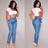 Wholesale Wearing Belts Slim Women - Blue Denim Jeans Street Wear Sexy Women High Waist Belted Jeans Slim Fit Pencil Pants Trousers Club Party Bottoms BSF0331