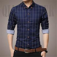 Wholesale Men Slim Work Shirts - British Style Men's Cotton Warm Work Shirts Long Sleeve Plaid Men Clothes Slim Fit Plus Size 5XL;camiseta manga longa masculina