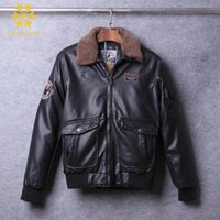 Wholesale Air Force Leather Bomber Jacket - Wholesale- 3d Print Genuine Sheepskin Fur Collar Jacket Fly Air Force Flight Jacket Bomber Genuine Leather Jacket Men Winter Coat