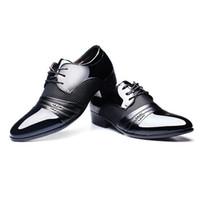 мужская обувь оптовых-Мужчины Платье Обувь Мужчины Бизнес Плоские Туфли Черный Коричневый Дышащий Низкий Топ Мужчины Формальные Офисная Обувь Плюс Размер