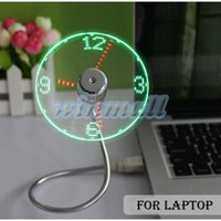 Wholesale Usb Desk Fans - 2016 Adjustable Flexible Office Desk Gadget USB Mini Flexible Time LED Clock Fan with LED Light
