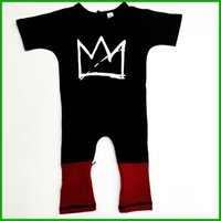 Wholesale Children Boy Pants Pocket - newest fashion long baby boys rompers long sleeve o-neck pocket crown printed long red pants toddler infant children boys girls baby rompers