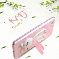 Wholesale Clear Silicone Ears - Colorful Cute diamond Rabbit Ear kickstand soft Case For OPPO R7 R7s R7 plus R9 R9 plus R1s R1c A31T A51T clear tpu back cover