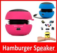 Wholesale Hamburger Speaker Wholesale - Hamburger Speakers Portable Pocket Mini Speaker MP3 Audio Amplifier Wholesale High Quality Speakers Subwoofers 8 Colors