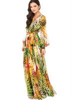 Wholesale Tropical Beach Dresses - 2016 summer tropical rainforest flower print chiffon long dress women bohemian floral chiffon maxi dress beach dress free shipping