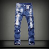 Wholesale jeans pattern design - Hot Sale Brand Mens Jeans Fashion Hole Design Slim Jeans Men High Streetwear Blue Casual Wash Homme Pants