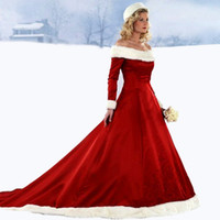 Wholesale Winter Wedding Gowns Sleeves - Hot 2017 New Arrival Christmas Long Sleeve Red Wedding Dresses With Buttons Off The Shoulder Embroidery Satin Winter Wedding Gowns