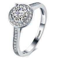 sello de oro real al por mayor-Real Pure Gold Ring 18KRGP Stamp original Anillos Set 1 Ct CZ Diamant Anillos de boda para mujeres RING