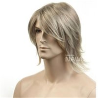 Wholesale Long Blonde Cosplay - WoodFestival blonde wig long straight mens wig male anime wigs for mens wig cosplay handsome vogue warped medium fashion good quality wigs