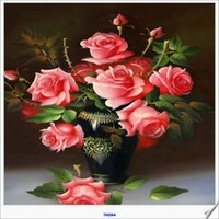 Wholesale Cross Stitch Mirror - 100% round DIY 5d Diamond Mosaic flower The king of flowers peony Handmade Diamond Painting Cross Stitch Kits Diamond