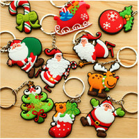 Wholesale Christmas Gift Free Shipping - 100pcs New Creative Key rings Santa Claus soft pvc key chain Christmas gift jewelry free shipping