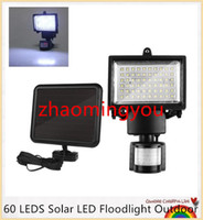 Wholesale Solar Floodlighting - YON 60 LEDS Solar LED Floodlight Outdoor Cool White PIR Motion Sensor LED Flood Light Lamp For Garden Path Wall Emergency Lighting