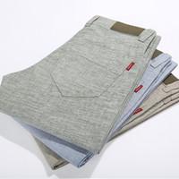 calça de jogger venda por atacado-Linho Cotton Moda corredores do Atacado-Men Men Casual Calças Men Primavera Outono finas calças Calças Roupa pantalon homme