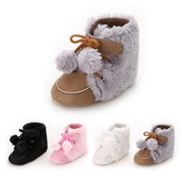 Wholesale toddler fur snow boots - baby first walkers toddler infant winter plush fur cotton warm snow boots girls boys non-slip soft shoes 4colors 0-12M Christmas gift