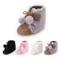 bota de piel multi al por mayor-Bebé primero caminante niño pequeño de invierno de piel de felpa de algodón cálido nieve botas chicas niños antideslizantes zapatos suaves 4 colores 0-12M regalo de Navidad