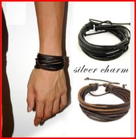 Wholesale vintage leather bracelets - Leather Bracelet Men Women Rope Leather Braided Real Leather Bracelet wristbands Black and Brown vintage jewelry acc237