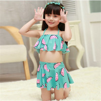 Wholesale Swimming Clothes Children - Girls Swimwear Kids Bikini Two pieces Swimsuit Children watermelon Swimming suit princess Bathing suit Baby Summer Clothing Gifts 2016 new
