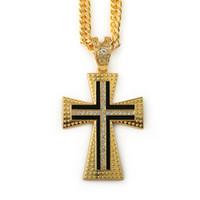 preto da colar de jesus venda por atacado-Mens hip hop Rapper Geométrica 18 K Banhado A prata de Ouro Iced Out Cristal preto Jesus Grande Cruz Cobra Cadeia Pingentes Colares mulheres homens Jóias