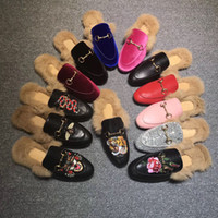 Wholesale new ladies slippers resale online - Designer Genuine leather loafers Fur Muller slipper with buckle Fashion women Princetown Ladies Casual Fur Mules Flats New
