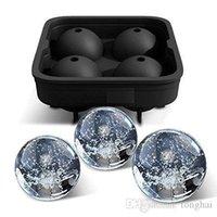 ingrosso sfere flessibili in silicone-Vassoio flessibile H2010224 del congelatore della muffa del creatore della sfera del ghiaccio del whisky del silicone