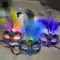 Wholesale Girls Butterfly Mask - Women Girls Party Fancy Ball Light Up LED Fiber Feather Mask Butterfly Masquerade Fancy Costume Party Decorations Hallowmas Props Mask