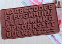 jöle harfleri toptan satış-Yeni Gelmesi 26 Mektuplar Şekil Silikon Kalıp, Jöle, Çikolata, Sabun, Kek Dekorasyon DIY Mutfak, Bakeware