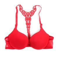 and back lingerie venda por atacado-Atacado-Mulheres Bra Fechamento Frontal Sexy Lace Racer Y-line Correias Voltar Seamless Push Up Lingerie 7 Cores