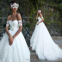 Wholesale church wedding - Exquisite White Sweetheart Wedding Dresses 2018 Custom Tulle Church Arabic Milla Nova Lace Appliques Vestios De Novia Ball Bridal Gowns