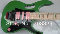 Wholesale Fret Inlay - RARE 24 Frets 7 Green Electric Guitar Pyramid Fretboard Inlay,Floyd Rose Tremolo bridge, Black Hardware, Pink Pickups