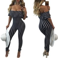 Wholesale Sexy Women Strapless Vest - Autumn Hot Sale Sexy Women Off the Shoulder Ruffle Jumpsuits Club Party Lady Strapless Casual Fashion Stripe Long Pants Jumpsuit 2017