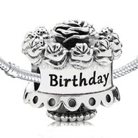 Wholesale Diy Cake - Wholesale Flower Birthday Cake Charm 925 Sterling Silver European Floating Charms Bead Fit Pandora Snake Chain Bracelets DIY Jewelry 112