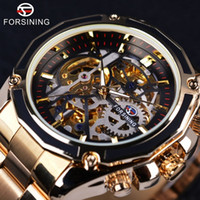 Wholesale Steampunk Mechanical Skeleton Watches - Forsining Steampunk Design Fashion Business Dress Mens Watch Top Brand Luxury Stainless Steel Automatic Skeleton Mechanical Watch For Mens